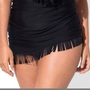 Black Swim Skirt with Fringe